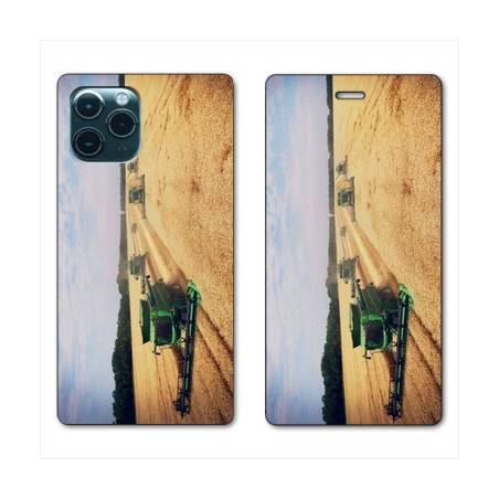 """RV Housse cuir portefeuille Iphone 11 Pro Max (6,5"""") Agriculture Moissonneuse"""