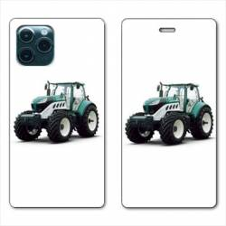 "RV Housse cuir portefeuille Iphone 11 Pro Max (6,5"") Agriculture Tracteur Blanc"