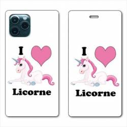 "RV Housse cuir portefeuille Iphone 11 Pro Max (6,5"") Licorne I love FR"
