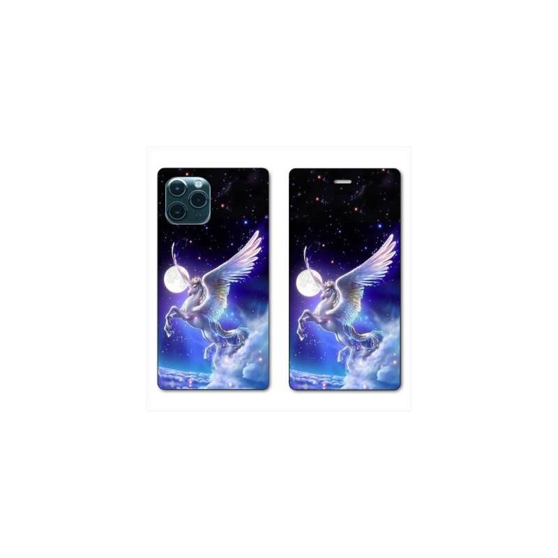 """RV Housse cuir portefeuille Iphone 11 Pro Max (6,5"""") Licorne Céleste"""