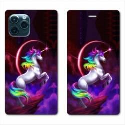 """RV Housse cuir portefeuille Iphone 11 Pro Max (6,5"""") Licorne Arc en ciel"""