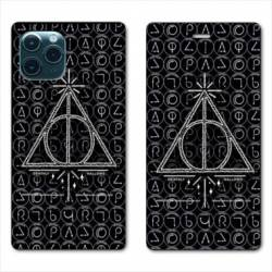 "RV Housse cuir portefeuille Iphone 11 Pro Max (6,5"") WB License harry potter pattern triangle noir"