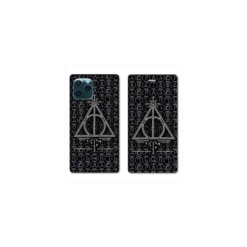 """RV Housse cuir portefeuille Iphone 11 Pro Max (6,5"""") WB License harry potter pattern triangle noir"""