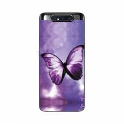 Coque Samsung Galaxy A80 papillons violet et blanc