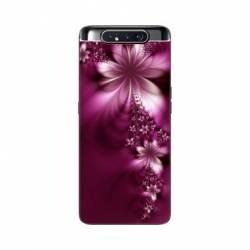 Coque Samsung Galaxy A80 fleur violette montante