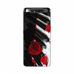 Coque Samsung Galaxy A80 Musique Rose Piano