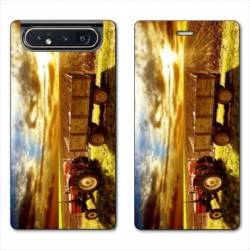 Housse cuir portefeuille Samsung Galaxy A80 Agriculture Tracteur color