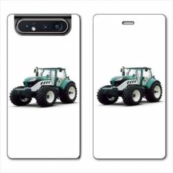 Housse cuir portefeuille Samsung Galaxy A80 Agriculture Tracteur Blanc