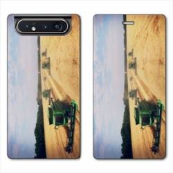Housse cuir portefeuille Samsung Galaxy A80 Agriculture Moissonneuse