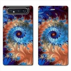 Housse cuir portefeuille Samsung Galaxy A80 Psychedelic Spirale