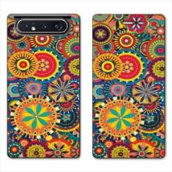 Housse cuir portefeuille Samsung Galaxy A80 Psychedelic Roue