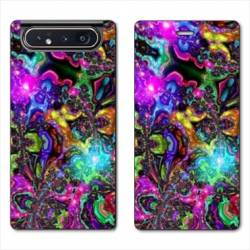 Housse cuir portefeuille Samsung Galaxy A80 Psychedelic colore