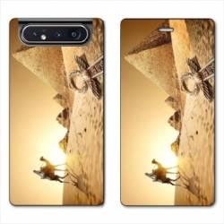 Housse cuir portefeuille Samsung Galaxy A80 Egypte Chameau