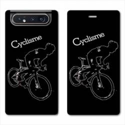 Housse cuir portefeuille Samsung Galaxy A80 Cyclisme Ombre blanche