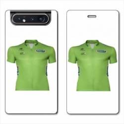 Housse cuir portefeuille Samsung Galaxy A80 Cyclisme Maillot vert