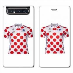 Housse cuir portefeuille Samsung Galaxy A80 Cyclisme Maillot pois