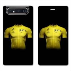 Housse cuir portefeuille Samsung Galaxy A80 Cyclisme Maillot jaune