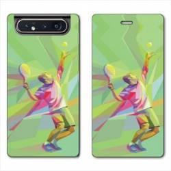 Housse cuir portefeuille Samsung Galaxy A80 Tennis Service