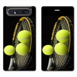 Housse cuir portefeuille Samsung Galaxy A80 Tennis Balls