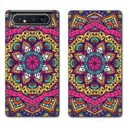 Housse cuir portefeuille Samsung Galaxy A80 Etnic abstrait Rosas rose