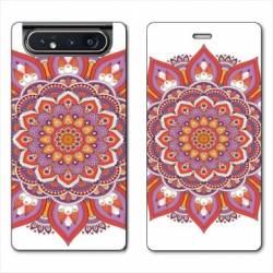 Housse cuir portefeuille Samsung Galaxy A80 Etnic abstrait Rosas orange