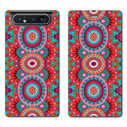 Housse cuir portefeuille Samsung Galaxy A80 Etnic abstrait Pic rouge