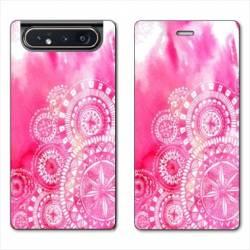 Housse cuir portefeuille Samsung Galaxy A80 Etnic abstrait Bouclier rose