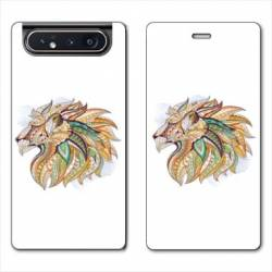Housse cuir portefeuille Samsung Galaxy A80 Ethniques Lion