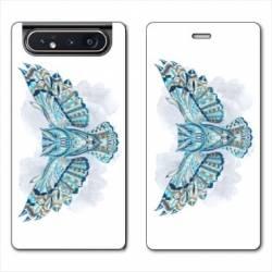 Housse cuir portefeuille Samsung Galaxy A80 Ethniques Hibou B