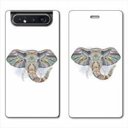 Housse cuir portefeuille Samsung Galaxy A80 Ethniques Elephant Color B