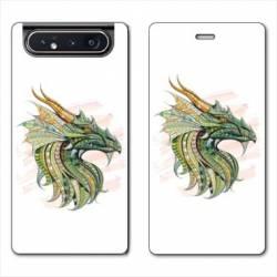 Housse cuir portefeuille Samsung Galaxy A80 Ethniques Dragon Color
