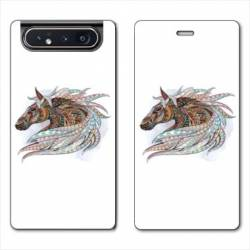 Housse cuir portefeuille Samsung Galaxy A80 Ethniques Cheval Color B