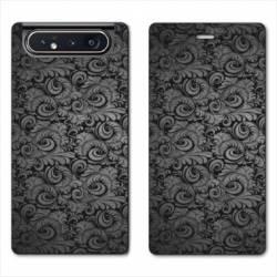 Housse cuir portefeuille Samsung Galaxy A80 Texture velours
