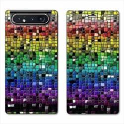 Housse cuir portefeuille Samsung Galaxy A80 Texture mosaique