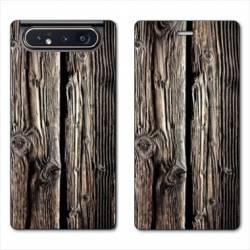 Housse cuir portefeuille Samsung Galaxy A80 Texture bois