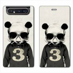 Housse cuir portefeuille Samsung Galaxy A80 Decale Panda