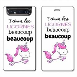 Housse cuir portefeuille Samsung Galaxy A80 Decale licorne