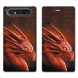 Housse cuir portefeuille Samsung Galaxy A80 Dragon Rouge