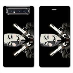 Housse cuir portefeuille Samsung Galaxy A80 Anonymous Gun