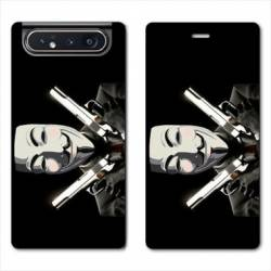 Housse cuir portefeuille Samsung Galaxy A80 Anonymous Gun
