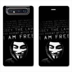 Housse cuir portefeuille Samsung Galaxy A80 Anonymous I am free