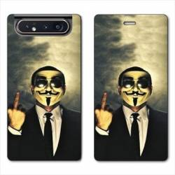 Housse cuir portefeuille Samsung Galaxy A80 Anonymous doigt