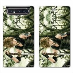 Housse cuir portefeuille Samsung Galaxy A80 Manga bois