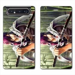 Housse cuir portefeuille Samsung Galaxy A80 Manga bambou