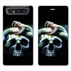 Housse cuir portefeuille Samsung Galaxy A80 serpent crane
