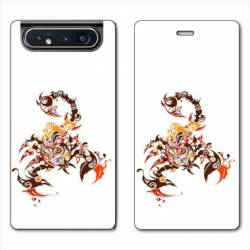 Housse cuir portefeuille Samsung Galaxy A80 Reptile scorpion