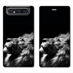Housse cuir portefeuille Samsung Galaxy A80 roi lion