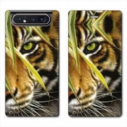 Housse cuir portefeuille Samsung Galaxy A80 bebe tigre