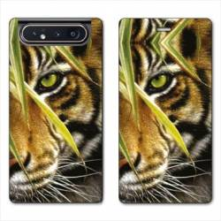 Housse cuir portefeuille Samsung Galaxy A80 bebe tigre