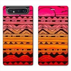 Housse cuir portefeuille Samsung Galaxy A80 motifs Aztec azteque soleil